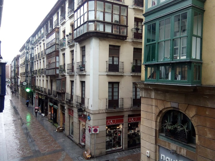 Bilbao old town in the rain